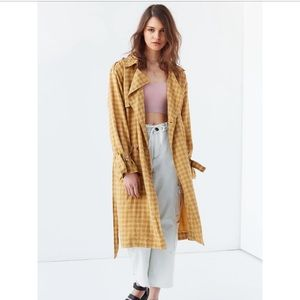 UO Plaid Linen Trench Coat. Great Details!
